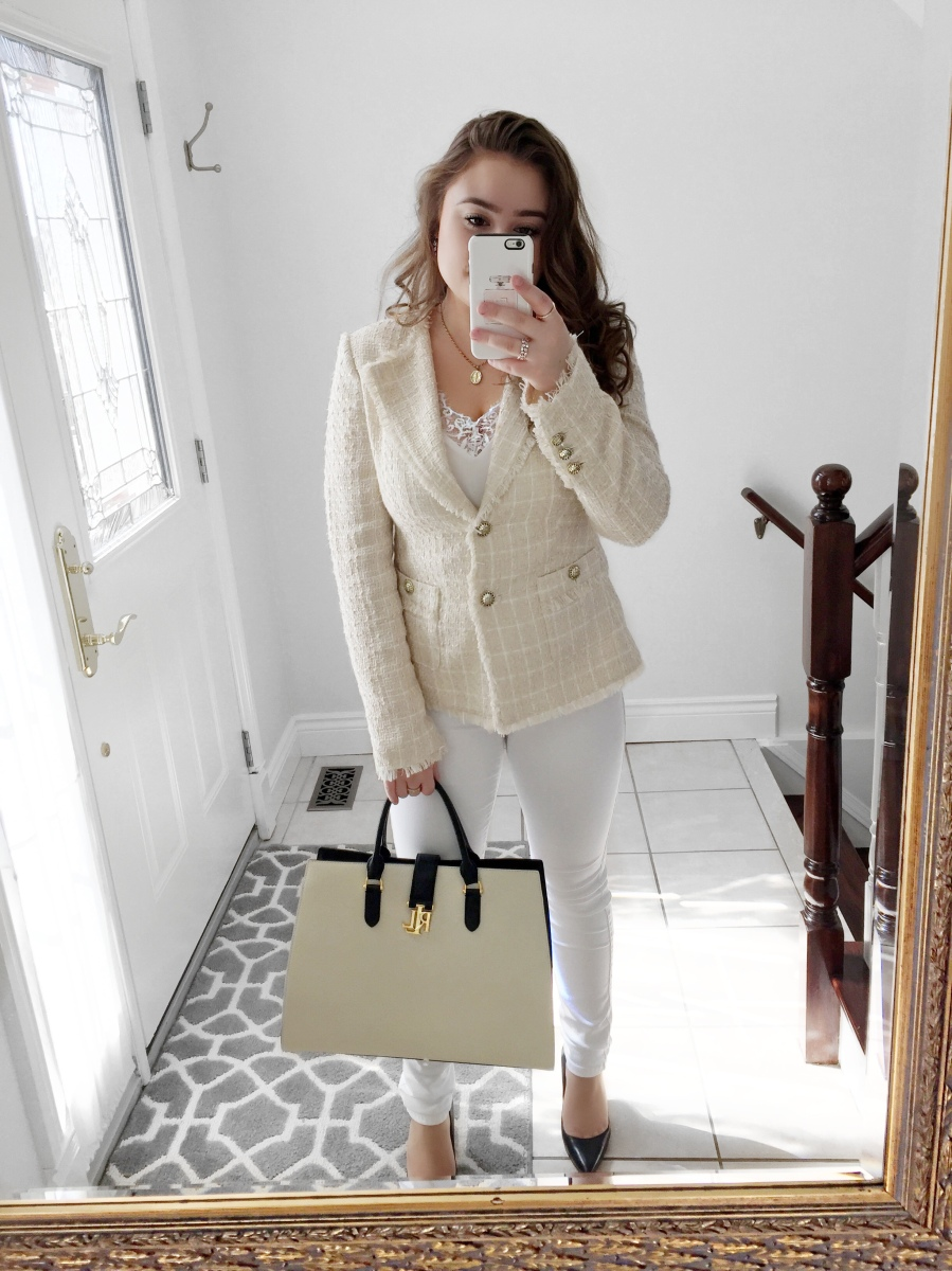 OOTD: Cream & White Tweed